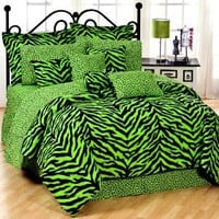 Black &amp; Lime Green Zebra Print Bed In A Bag Set