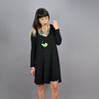KEEKO - Draped Rounded hemline Long sleeved Dress - MADE-To-ORDER Black