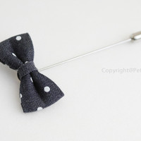 Mini Polka dot Bow Men's Boutonniere / Buttonhole For Wedding,Lapel Pin,Tie Pin