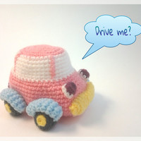 Amigurumi car, pastel pink crochet doll,  ready to ship.