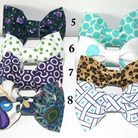 Two for 12.50 Hair Bows - Any two bows of your choice - Clip on, floral, polka dot , leopard, peacock, purple, tiffany blue, aqua