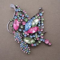Large Pastel Rhinestones Butterfly by ChickenLittleJewelry on Etsy