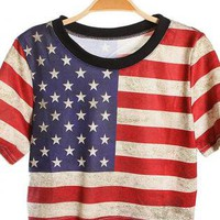 American Flag Print Loose Short T-shirt