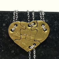 4 Piece Heart Shaped Puzzle Necklaces Set of 4 Interlocking Necklaces Antique Gold Polymer Clay Set 240