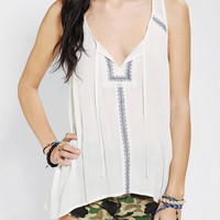 Urban Outfitters - Ecote Embroidered Gauze Tank Top