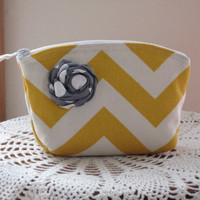 Bridal Bridesmaid Cosmetic Bag Clutch Zipper Purse Dots in Yellow and white Chevron with Rolled Fabric Accent Made in the USA