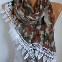 Leaf  Scarf - Cotton Scarf - Shawl - Cowl Scarf with Lace Edge - fatwoman- Autumn/Fall Leaf  - Beach wrap