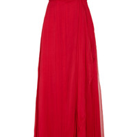 Mikael Aghal Crystal-embellished silk-georgette gown – 65% at THE OUTNET.COM