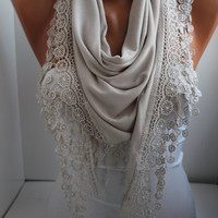 NEW- Beige Scarf - Jersey Scarf - Triangle Scarf - Headband - Cowl with Lace Edge- DIDUCI