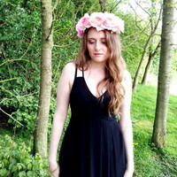 Flower Crown Floral crown headpiece headband wreath with pink silk roses festival - 'Satin Rose'