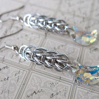Crystal Moon Earrings - Crystal Crescent Moon Dangle Earrings