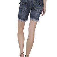Frayed Mid-Length Denim Short | Shop Bottoms at Wet Seal