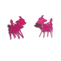 Pink Deer Stud Earrings, Kawaii Bambi Stud Earrings