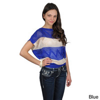 Journee Collection Juniors Striped Crochet Short Sleeve Top | Overstock.com