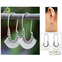 Sterling Silver 'Hollow Bell' Hoop Earrings (Thailand) | Overstock.com