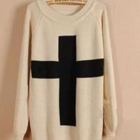 Beige Cross Long Sleeve Loose Sweater