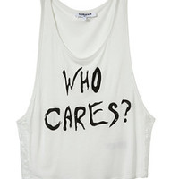 Teens White 'Who Cares' Vest