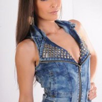 Blue Acid Wash Denim Vest with Studs Detail
