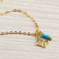 Gold butterfly necklace turquoise necklace by DeniasTreasures