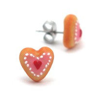 Heart Cookie Inedible Earring Studs - Valentine Sugar Cookie - Whimsical & Unique Gift Ideas for the Coolest Gift Givers