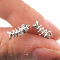 Tiny Fish Bone Fishbone Animal Stud Earrings in Silver