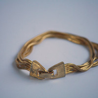 Vintage Quadruple Strand Gold Plated Bracelet - 1960s - Free Shipping