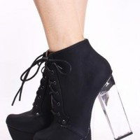 Black Boots with Lucite Clear Heel