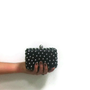 Black Leather Clutch with silver studs