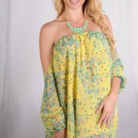 Yellow Off the Shoulder Tunic with Pink and Blue Floral
