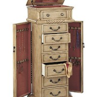 Jewelry Armoire In Antique White Finish [Kitchen]