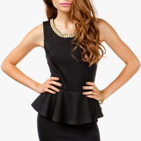 Pique Peplum Pearl Neck Dress