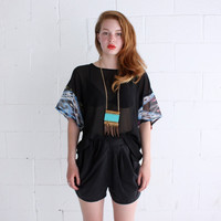 Slouch Tee  - Ikat and Black - Chiffon - S, M or L