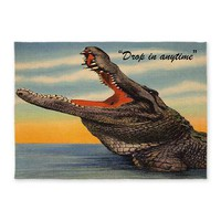 Vintage Alligator Postcard 5'x7' Area Rug> Korpita Vintage and Original Art Rugs> Rebecca Korpita Coastal Design