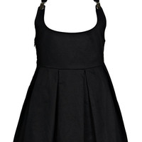 ROMWE | Detachable Black Strap Pleated Dress, The Latest Street Fashion