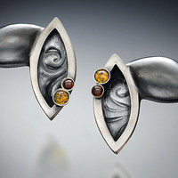 Leaf Earrings by Kristen Lee: Silver  Stone Earrings - Artful Home