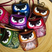 Leather Owl Wristlet:Amazon:Shoes