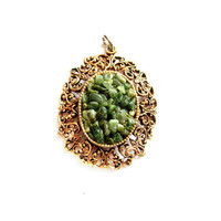 Vintage Gold / Jade Chip Gemstone Pendant