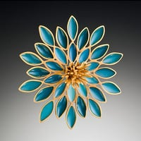 Flower Brooch by Lisa  Cimino: Vermeil  Resin Brooch - Artful Home
