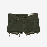 rag & bone/JEAN EXCLUSIVE Mila Distressed Cut Off: Fatigue Green -Just In-Sale-Categories- IntermixOnline.com