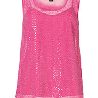 DKNY - Silk Sequined Top in Charming Pink