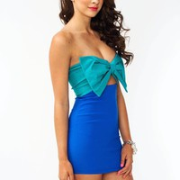 strapless-bow-cut-out-dress JADEBLUE REDPINK WHITEBLACK - GoJane.com