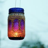 Hand Painted Mason Jar LanternDeep Plum Tinted Glass by LITdecor