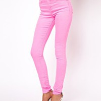 ASOS Ridley Supersoft High Waisted Ultra Skinny Jeans in Neon Pink at asos.com
