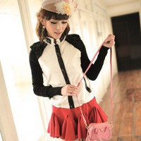 Korean Fashion Splicing Chiffon Single Breasted PU Jacket White