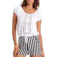 Crochet Inset Button-Down Top: Charlotte Russe