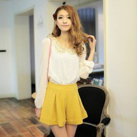 Cute Fashion Golden Paillette Neck Polka Dot Blouse White