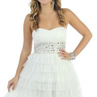 beaded strapless short prom dress with ruffles and tiered skirt - 400002857013 - debshops.com