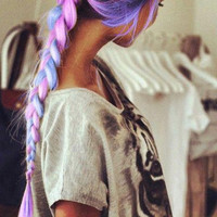 R A I N B O W  mini TRADITIONAL braid/ pastel dip dye ombre/ free people inspired/  hair extension/ weft clip-in