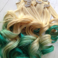 "Ombre Hair Extensions//DipDye//Blonde Hair with Teal Fade, Full Set Hair Extensions (7 Pieces), 18"", Customize your Base"