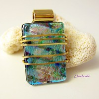 Spirit of the Sea Brass Wrapped Handmade Dichroic Fused Glass Pendant